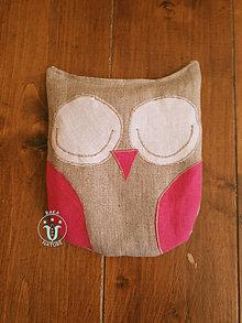 Úžitkový textil - Nahrievací vankúšik - čerešňová kôstka (Sova - Ružová) - 11158539_