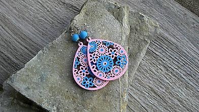Náušnice - Veľké drevené maľované náušnice (ružovo modré slzičky, č. 2895) - 11159605_