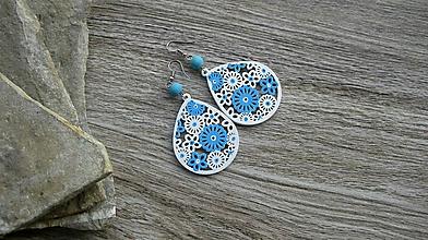 Náušnice - Veľké drevené maľované náušnice (Bielo modré slzičky, č. 2896) - 11159627_