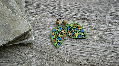 Náušnice - Veľké drevené maľované náušnice (Farebné jesenné lístky č. 2900) - 11159730_