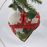 Úžitkový textil - SANDRA - tradičné ruže na režnej - vianočné srdiečko 13x13 - 11156574_