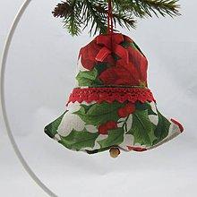 Úžitkový textil - SANDRA - tradičné ruže na režnej - vianočný zvonček 13x13 - 11156583_