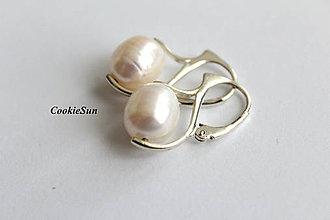 Náušnice - Riečne perly White (Náušnice 2) - 11160925_
