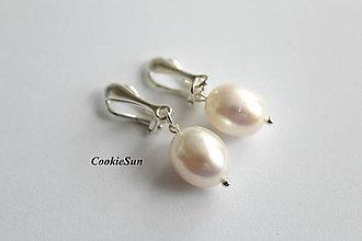 Náušnice - Riečne perly White (Klipsne) - 11160927_