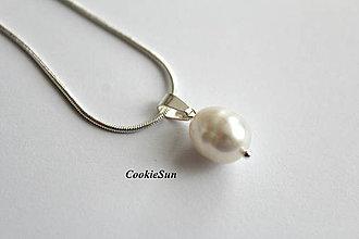 Náušnice - Riečne perly White (Prívesok) - 11160928_