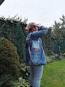 Veľké tašky - Rifľová recy taška - nákupná - 11157752_