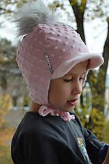 Detské čiapky - Zimná čiapka minky so šiltom - 11161059_