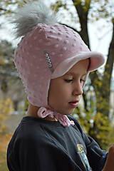 Detské čiapky - Zimná čiapka minky so šiltom - 11161060_