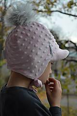 Detské čiapky - Zimná čiapka minky so šiltom - 11161061_