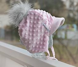 Detské čiapky - Zimná čiapka minky so šiltom - 11161057_