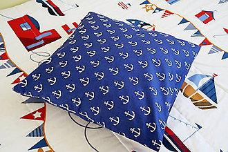 Textil - Dekoračný vankúš biela kotva - kolekcia Námorník - 11158300_