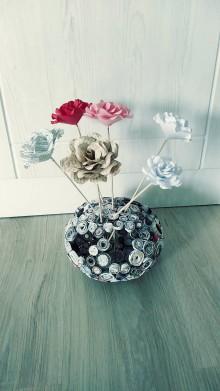 Nádoby - Váza, svietnik, zaujímavá obojstranná dekorácia... - zrecyklované časopisy - 11157488_