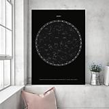 Grafika - Hviezdna mapa ČIERNA - na mieru - 11159247_