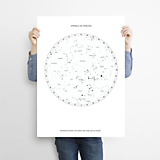 Grafika - Hviezdna mapa BIELA - na mieru - 11159373_