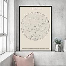 Grafika - Hviezdna mapa BÉŽOVÁ - na mieru - 11159379_
