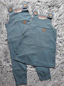 Detské oblečenie - SET PRE DVOJIČKY sukňa & nohavice na traky   (Set ŠEDOMODRÁ) - 11160975_