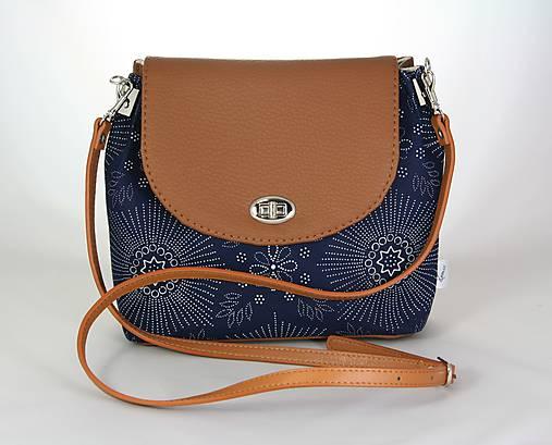 kabelka Linda hnedá + modrotlač 1