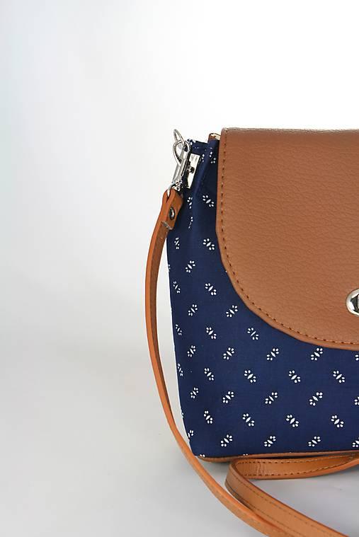 kabelka Linda hnedá + modrotlač 2