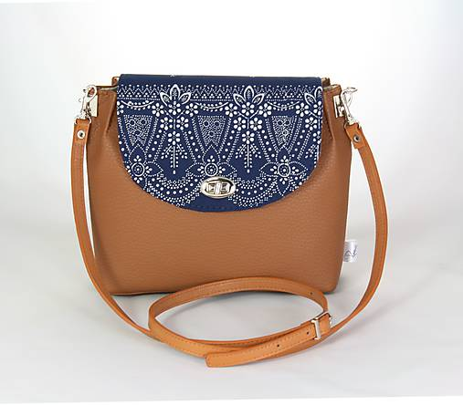 kabelka Linda hnedá + modrotlač 3
