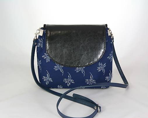 kabelka Linda čierna + modrotlač 1