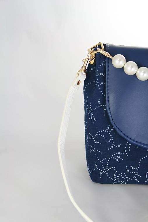 kabelka Linda Pearls modrá + modrotlač 2