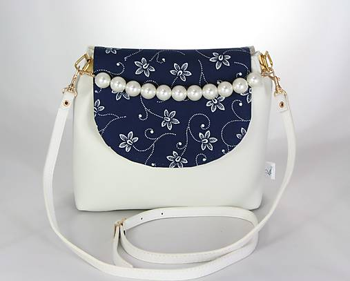 kabelka Linda Pearls biela + modrotlač 1