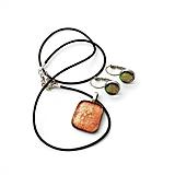 Sady šperkov - Appalache - oranžovo-škoricová sada sklenených šperkov - 11159397_