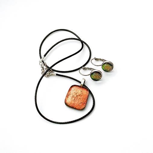 Appalache - oranžovo-škoricová sada sklenených šperkov