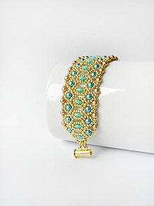 Náramky - Zlato-tyrkysový čipkovaný náramok - 11157036_