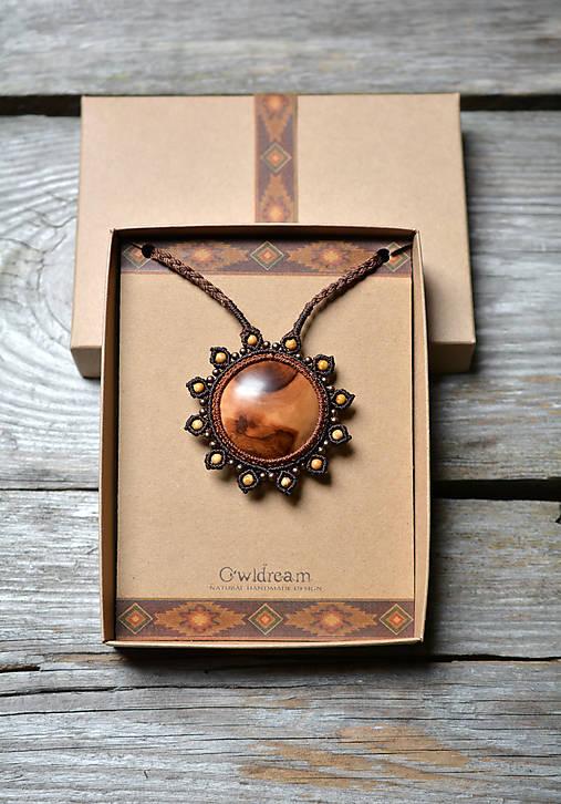 Drevený náhrdelník slnko •Babie leto•