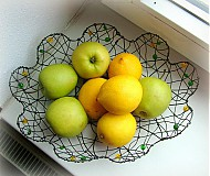 Košíky -  košík kvet  (žlté a zelené korálky) - 11162392_