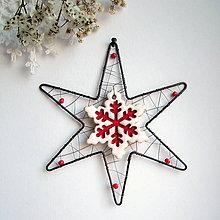 Dekorácie - vianočná hviezda s keramikou (Biela) - 11162140_