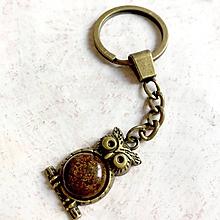 Kľúčenky - Bronzite Owl Keychain / Kľúčenka s bronzitom - sova - 11161561_