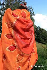 Šatky - Hedvábný šátek Slunce s listy - 11163023_