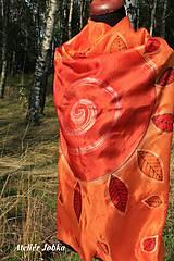 Šatky - Hedvábný šátek Slunce s listy - 11163024_