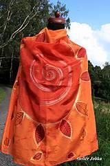 Šatky - Hedvábný šátek Slunce s listy - 11163025_