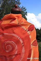 Šatky - Hedvábný šátek Slunce s listy - 11163026_
