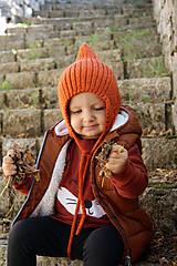 Čiapky - MIJANI Detská čiapka škriatkovský čepček - hrdzavá - 11163841_