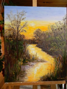 Obrazy - Podvečerná rieka - 11162385_