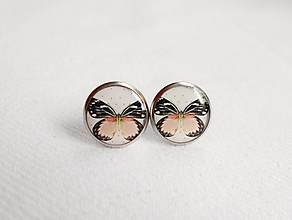 Náušnice - Živicové náušnice - Marhuľový motýľ (chirur.oceľ) - 11162334_