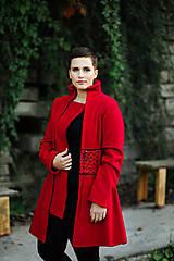 Kabáty - Červený vlnený kabát - 11164508_