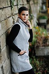 Iné oblečenie - Šedá dlhá teplá vlnená vesta - 11164543_