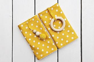 Detské doplnky - Slintáčiky žlté bodky - návleky na ergonomický nosič - 11162070_