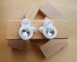 Náušnice - Kolorky - soutache earring - ručne šité šujtášové náušnice (Kolorky - biela - soutache earring - ručne šité šujtášové náušnice) - 11164240_