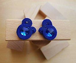 Náušnice - Kolorky - soutache earring - ručne šité šujtášové náušnice (Kolorky - modrá - soutache earring - ručne šité šujtášové náušnice) - 11164243_