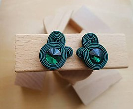 Náušnice - Kolorky - soutache earring - ručne šité šujtášové náušnice (Kolorky - šmaragdová - soutache earring - ručne šité šujtášové náušnice) - 11164257_
