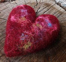 Odznaky/Brošne - veľká plstená bordó brož srdce - 11162408_