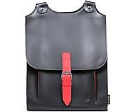 Batohy - Kožený batoh černý s červeným řemínkem - 11164504_