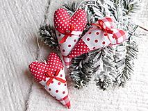 Dekorácie - Srdiečko bielo-červené - 11164465_
