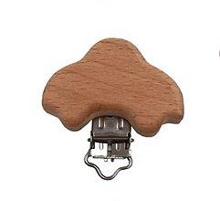 Galantéria - KL117 Klip drevený na retiazku na dudlík (Autíčko) - 11162946_